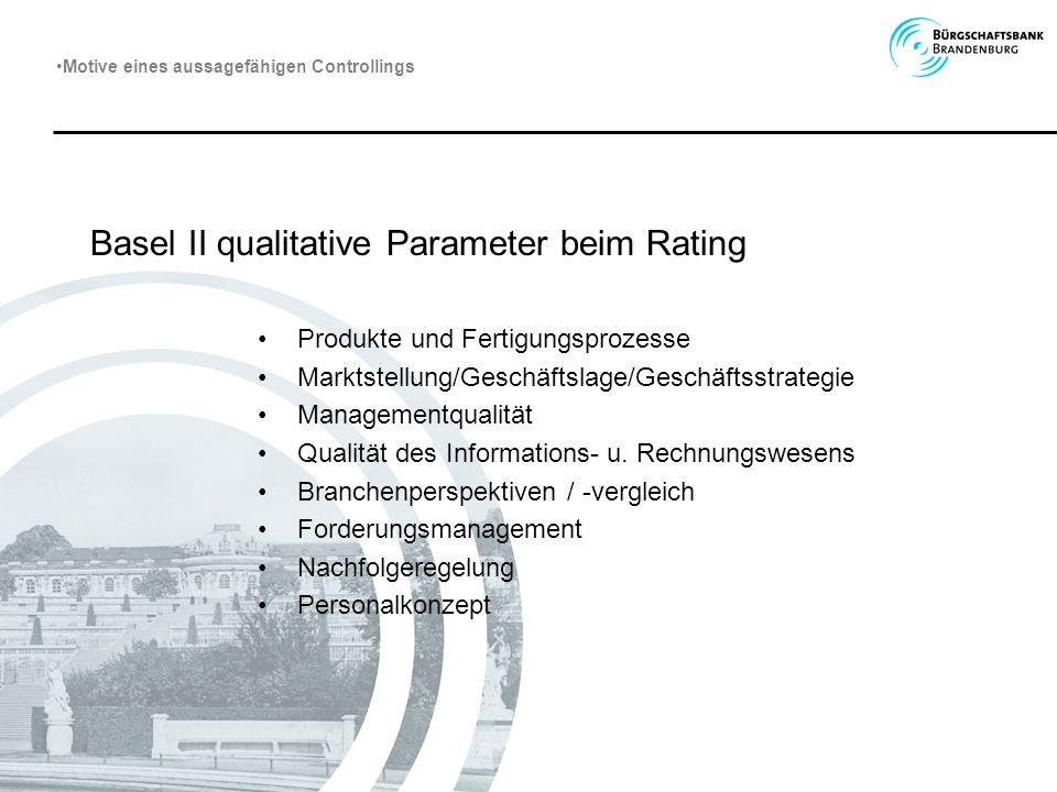 Basel II qualitative Parameter beim Rating Produkte und Fertigungsprozesse Marktstellung/Geschäftslage/Geschäftsstrategie Managementqualität Qualität