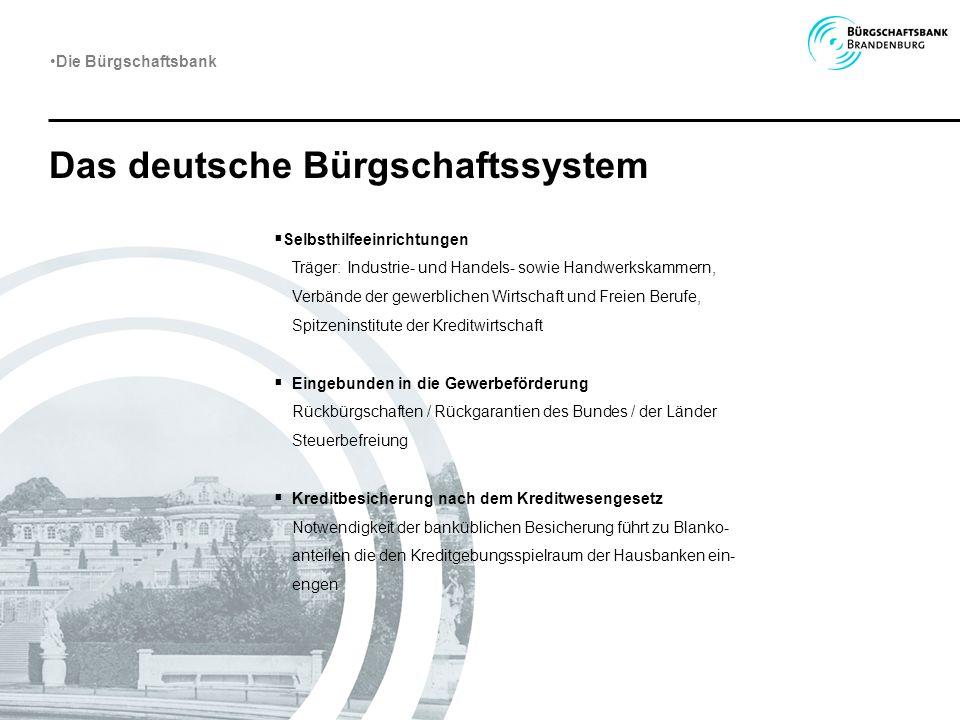 Das deutsche Bürgschaftssystem Die Bürgschaftsbank Selbsthilfeeinrichtungen Träger: Industrie- und Handels- sowie Handwerkskammern, Verbände der gewer