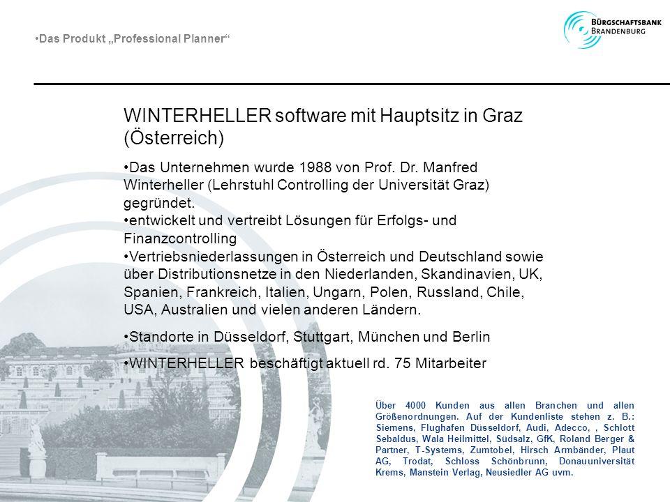 WINTERHELLER software mit Hauptsitz in Graz (Österreich) Das Unternehmen wurde 1988 von Prof. Dr. Manfred Winterheller (Lehrstuhl Controlling der Univ