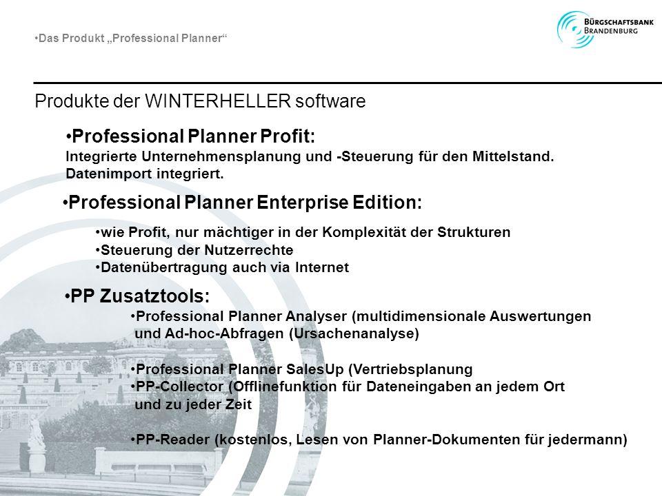Professional Planner Profit: Integrierte Unternehmensplanung und -Steuerung für den Mittelstand. Datenimport integriert. Professional Planner Enterpri