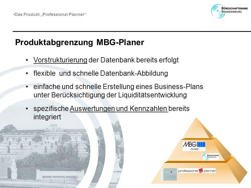Produktabgrenzung MBG-Planer Vorstrukturierung der Datenbank bereits erfolgt flexible und schnelle Datenbank-Abbildung einfache und schnelle Erstellun