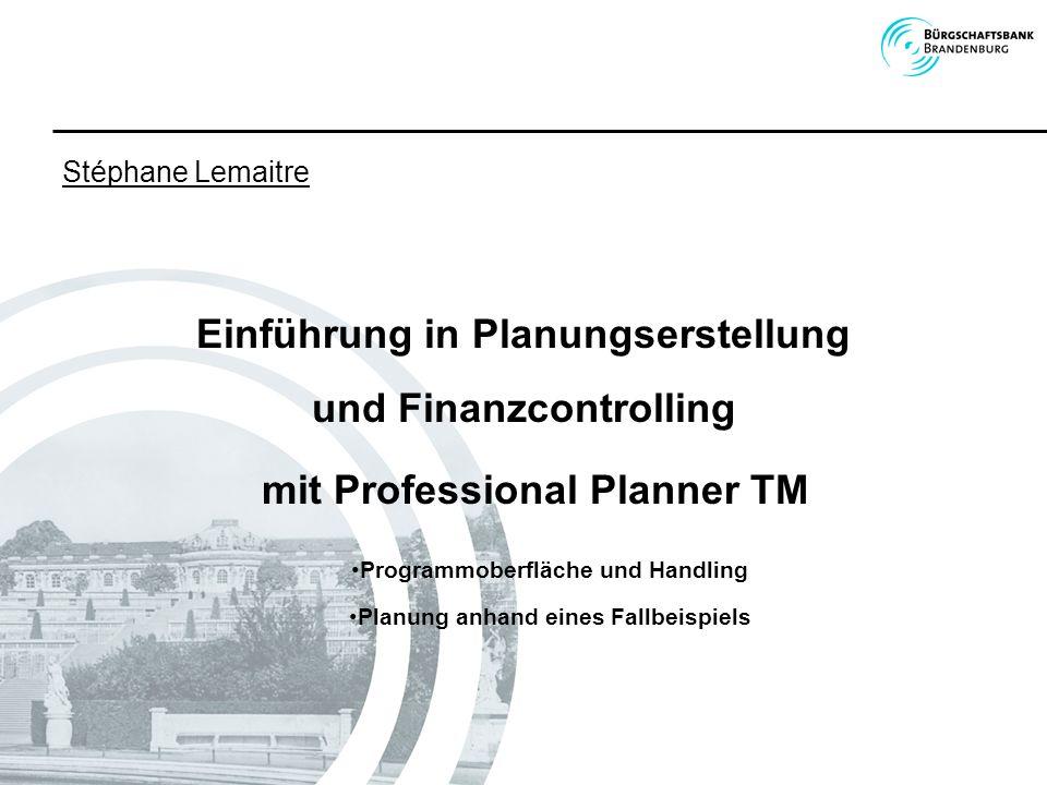Einführung in Planungserstellung und Finanzcontrolling mit Professional Planner TM Stéphane Lemaitre Programmoberfläche und Handling Planung anhand ei