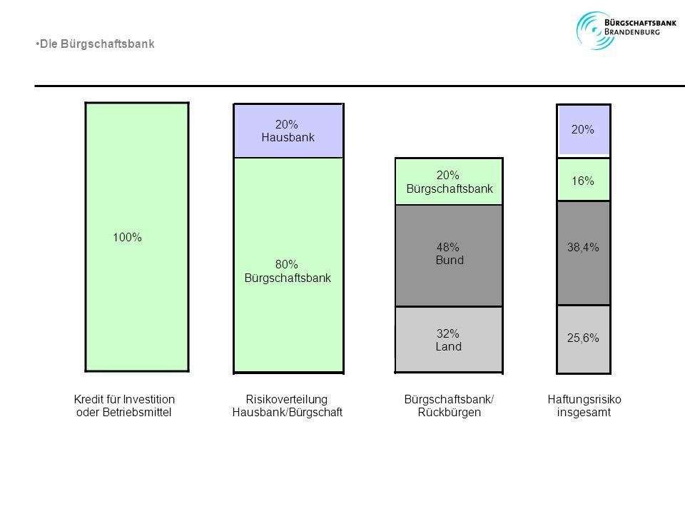 100% Kredit für Investition oder Betriebsmittel Risikoverteilung Hausbank/Bürgschaft Bürgschaftsbank/ Rückbürgen 80% Bürgschaftsbank 20% Bürgschaftsba