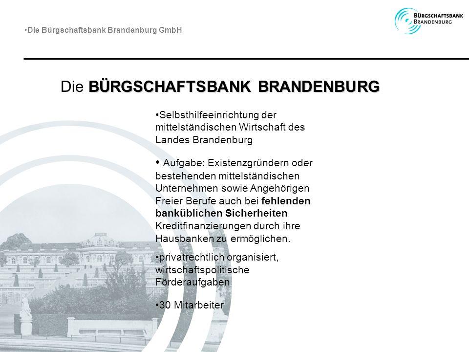BÜRGSCHAFTSBANK BRANDENBURG Die BÜRGSCHAFTSBANK BRANDENBURG Selbsthilfeeinrichtung der mittelständischen Wirtschaft des Landes Brandenburg Aufgabe: Ex