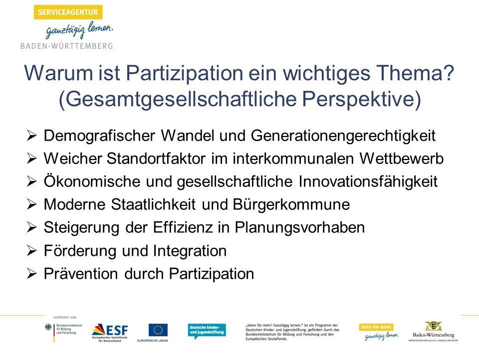 Warum ist Partizipation ein wichtiges Thema? (Gesamtgesellschaftliche Perspektive) Demografischer Wandel und Generationengerechtigkeit Weicher Standor