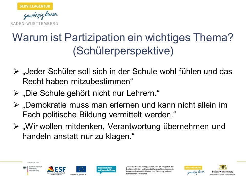 Warum ist Partizipation ein wichtiges Thema? (Schülerperspektive) Jeder Schüler soll sich in der Schule wohl fühlen und das Recht haben mitzubestimmen