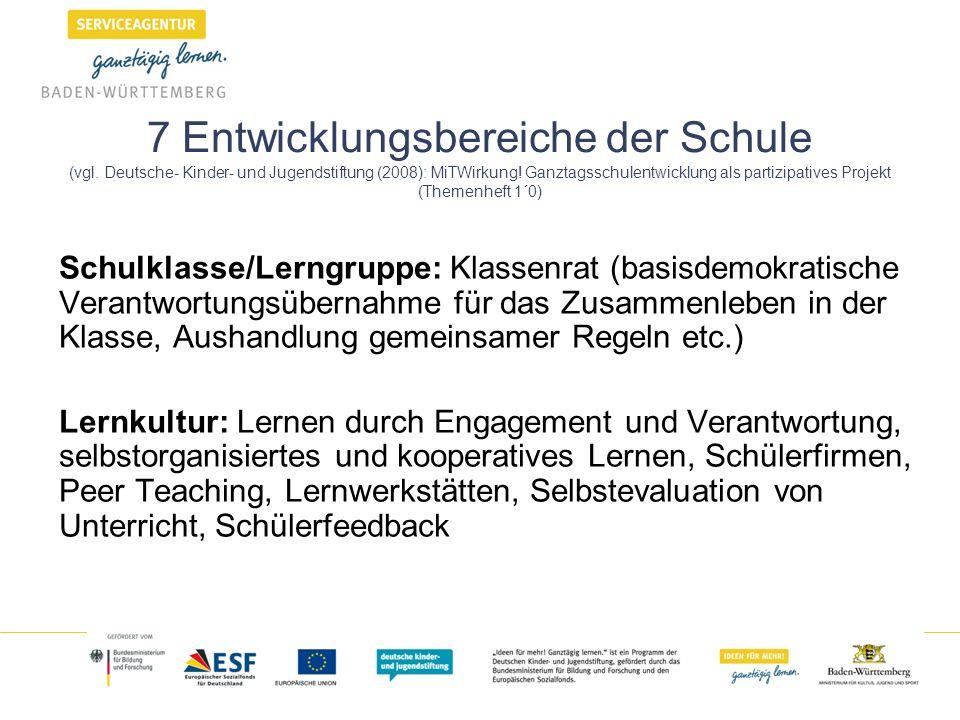 7 Entwicklungsbereiche der Schule (vgl. Deutsche- Kinder- und Jugendstiftung (2008): MiTWirkung! Ganztagsschulentwicklung als partizipatives Projekt (