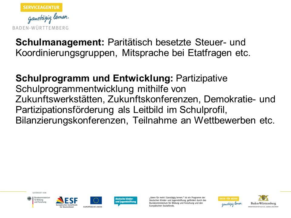 Schulmanagement: Paritätisch besetzte Steuer- und Koordinierungsgruppen, Mitsprache bei Etatfragen etc. Schulprogramm und Entwicklung: Partizipative S