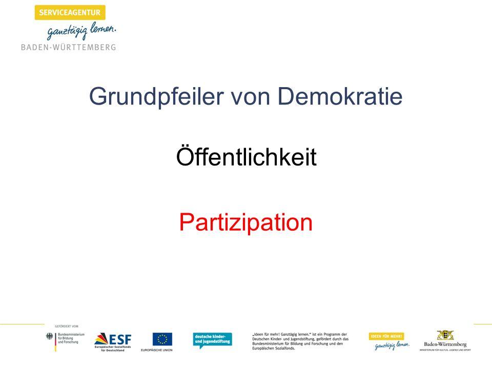 Grundpfeiler von Demokratie Öffentlichkeit Partizipation