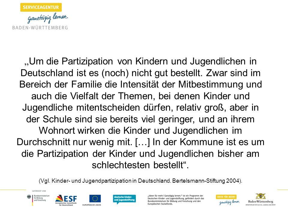 Um die Partizipation von Kindern und Jugendlichen in Deutschland ist es (noch) nicht gut bestellt. Zwar sind im Bereich der Familie die Intensität der