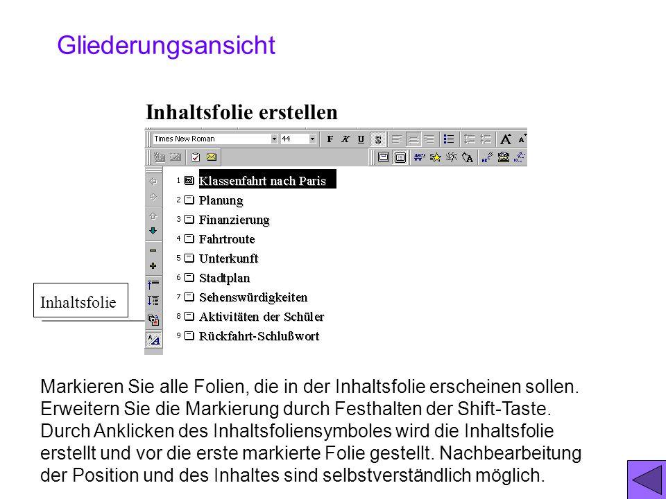 Das Minifolienbildbild erhält man mit dem Befehl: Ansicht/Miniaturbild Hilfsmittel zum Umstellen der Folien. Das kleine Foliensymbol kann markiert wer