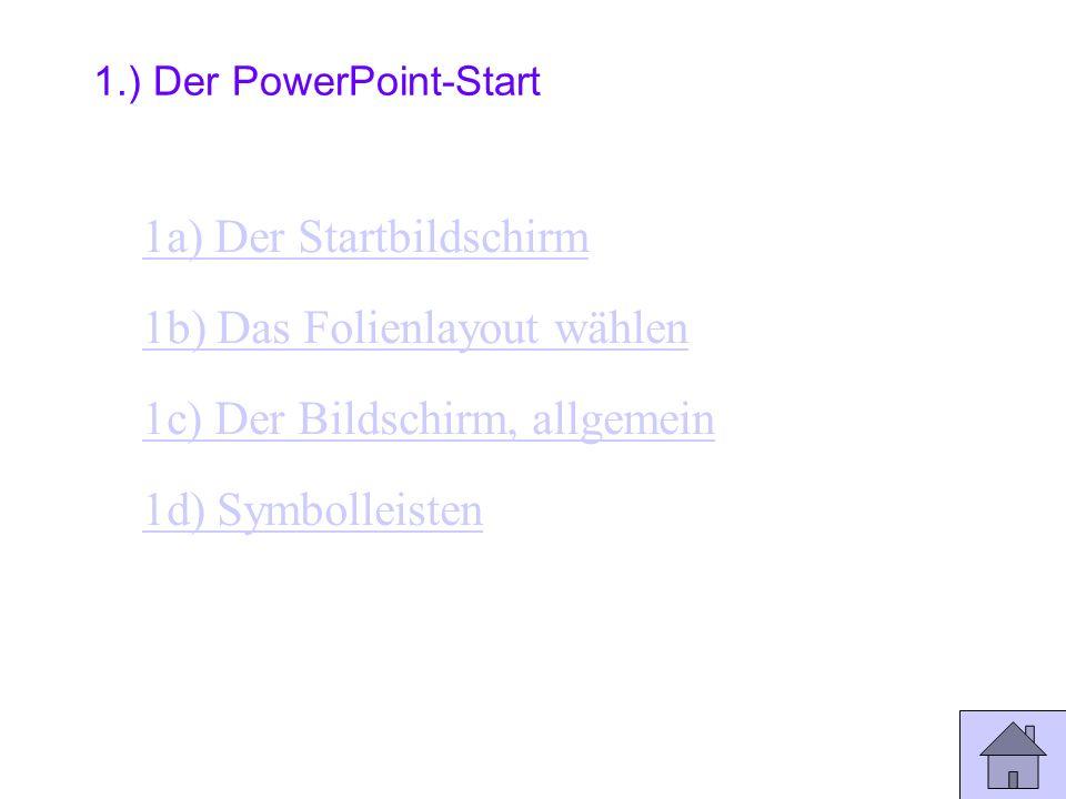 Inhaltsverzeichnis Ende 1.) Der PowerPoint-Start 2.) Bildschirmansichten 3.) Alles was man einfügen kann 4.) Der Hintergrund 5.) Verzweigungen 6.) Prä