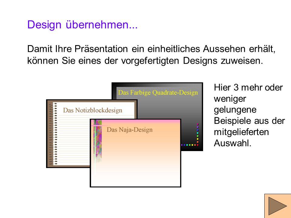 4.) Der Hintergrund 4a) Design zuweisen 4b) Folien-Master 4c) Grafik als Hintergrund