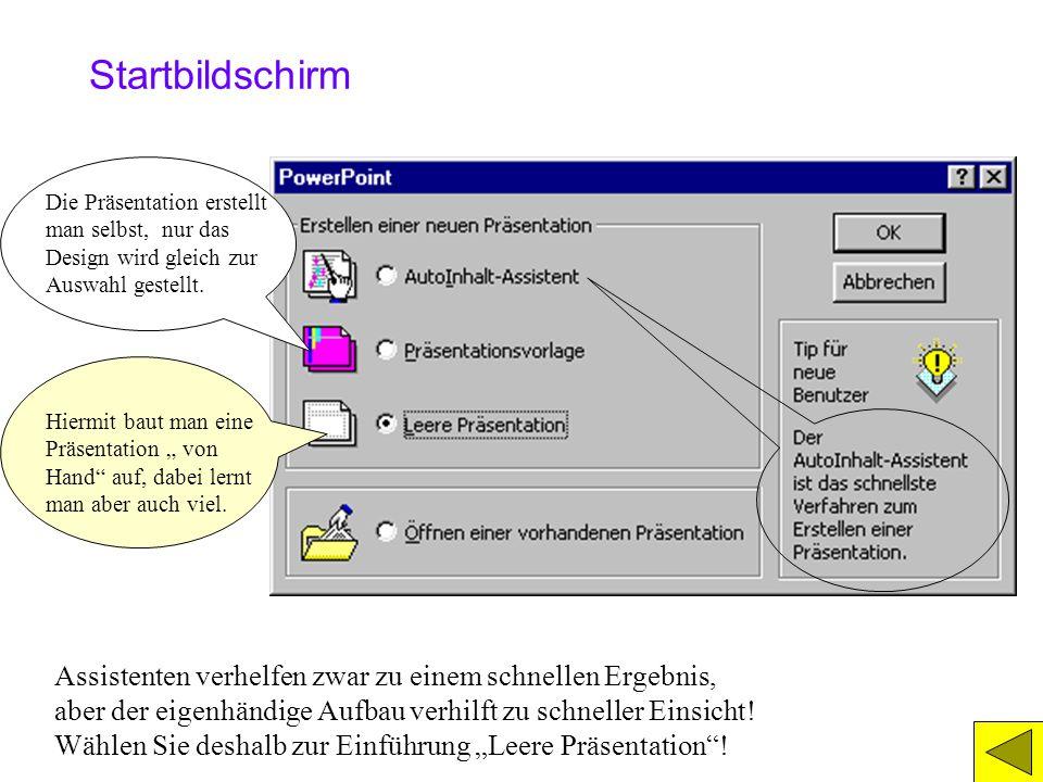 1.) Der PowerPoint-Start 1a) Der Startbildschirm 1b) Das Folienlayout wählen 1c) Der Bildschirm, allgemein 1d) Symbolleisten