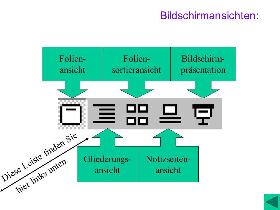 2.) Bildschirmansichten 2) Wie komme ich in die einzelnen Ansichten? 2a) Folienansicht 2b) Gliederungsansicht und Inhaltsfolienerstellung 2c) Folienso