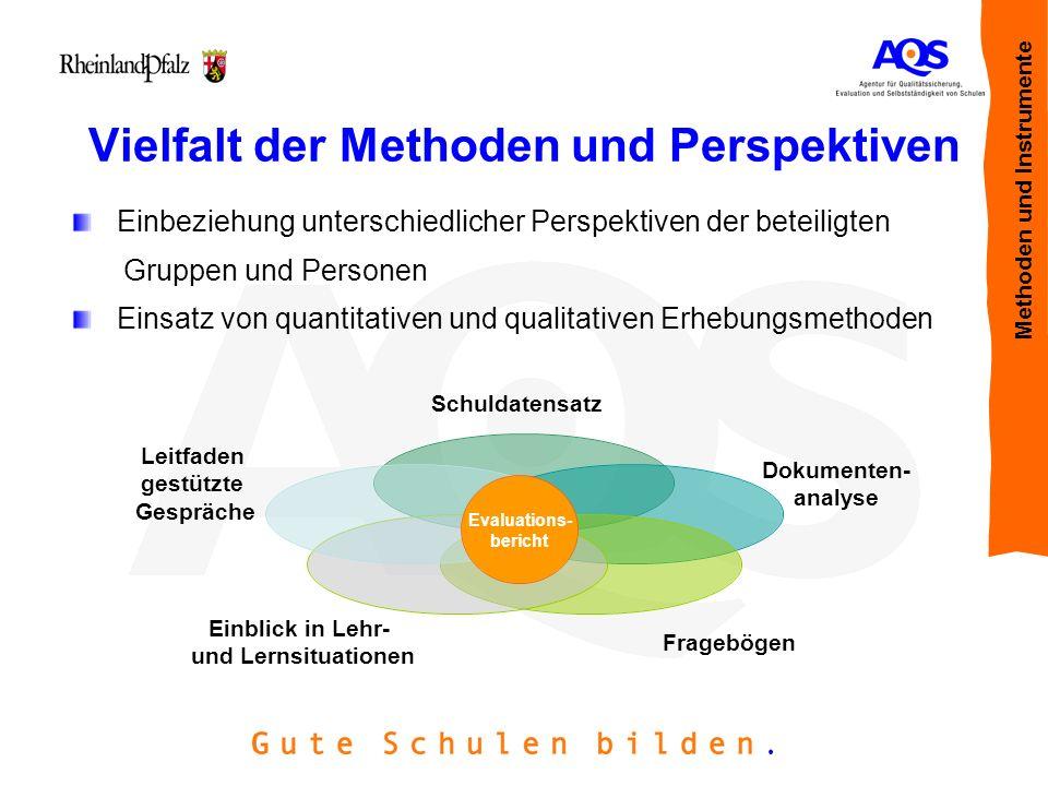 Vielfalt der Methoden und Perspektiven Einbeziehung unterschiedlicher Perspektiven der beteiligten Gruppen und Personen Einsatz von quantitativen und