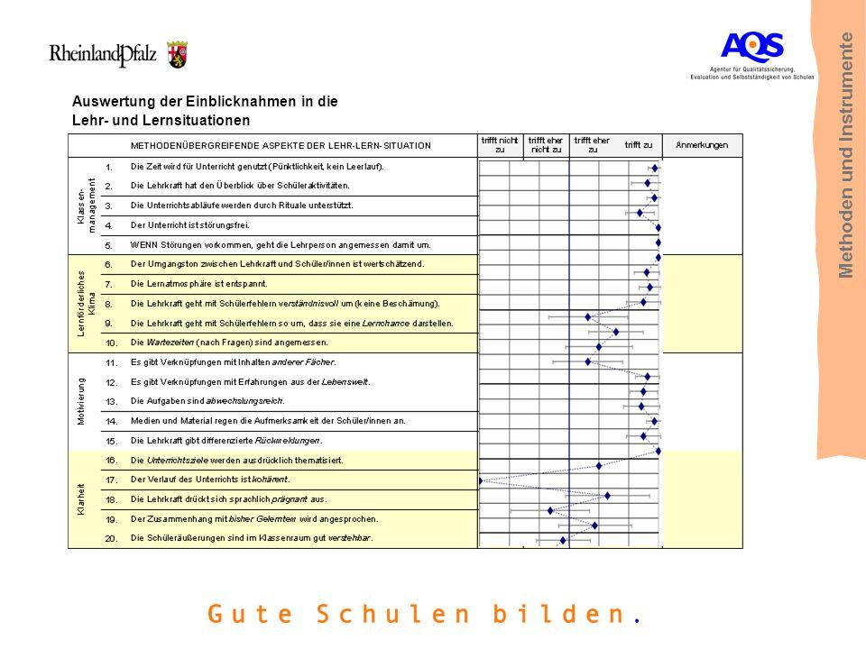 Auswertung der Einblicknahmen in die Lehr- und Lernsituationen Methoden und Instrumente