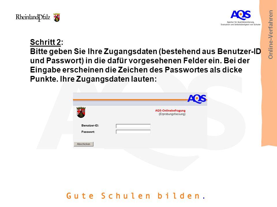 Schritt 2: Bitte geben Sie Ihre Zugangsdaten (bestehend aus Benutzer-ID und Passwort) in die dafür vorgesehenen Felder ein. Bei der Eingabe erscheinen