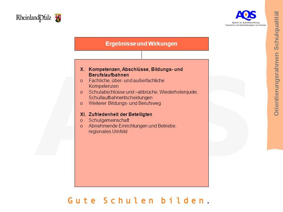 Ergebnisse und Wirkungen X.Kompetenzen, Abschlüsse, Bildungs- und Berufslaufbahnen oFachliche, über- und außerfachliche Kompetenzen oSchulabschlüsse u