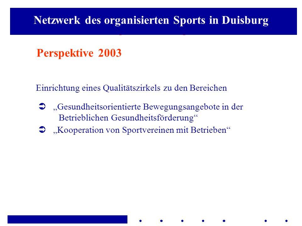 Aaaaa Perspektive 2003 Einrichtung eines Qualitätszirkels zu den Bereichen Gesundheitsorientierte Bewegungsangebote in der Betrieblichen Gesundheitsfö