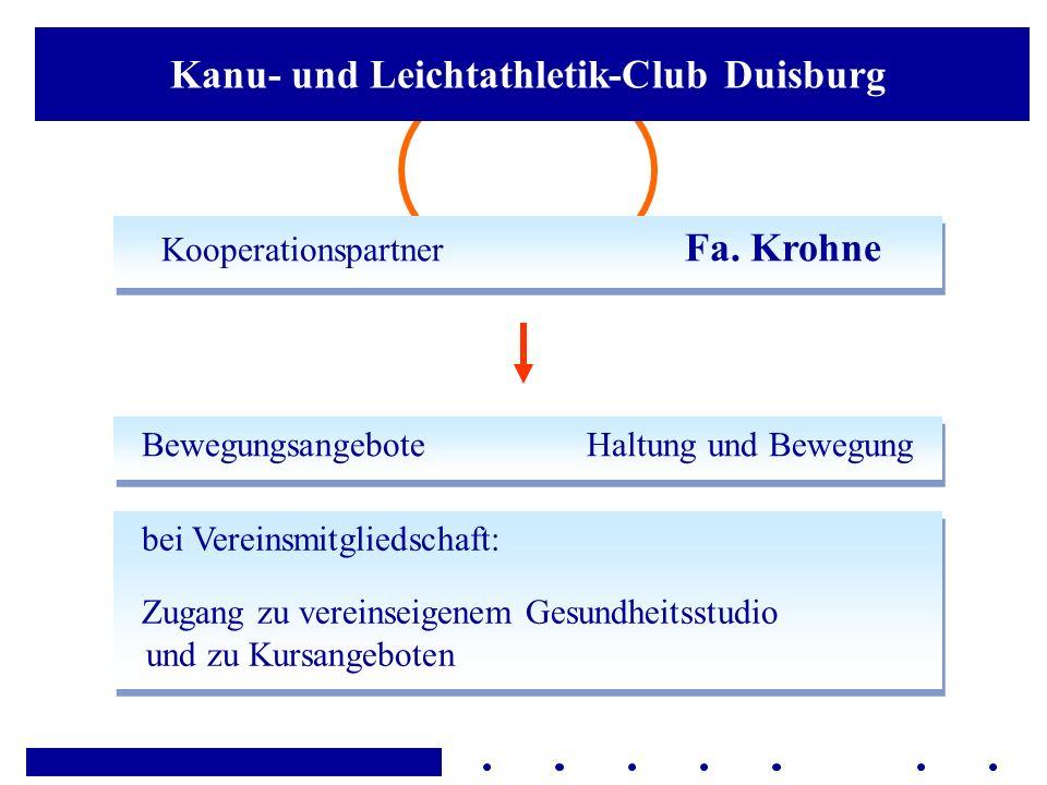 Kanu- und Leichtathletik-Club Duisburg Kooperationspartner Fa. Krohne Bewegungsangebote Haltung und Bewegung bei Vereinsmitgliedschaft: Zugang zu vere