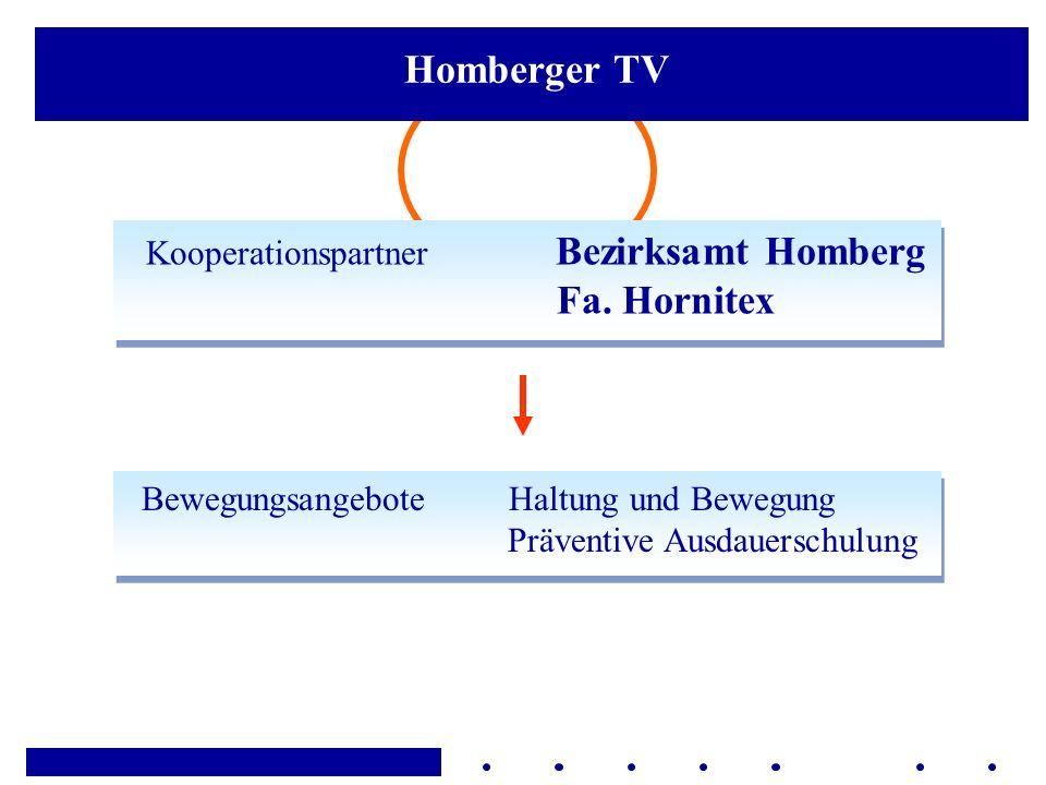 Kooperationspartner Bezirksamt Homberg Fa. Hornitex Bewegungsangebote Haltung und Bewegung Präventive Ausdauerschulung Homberger TV