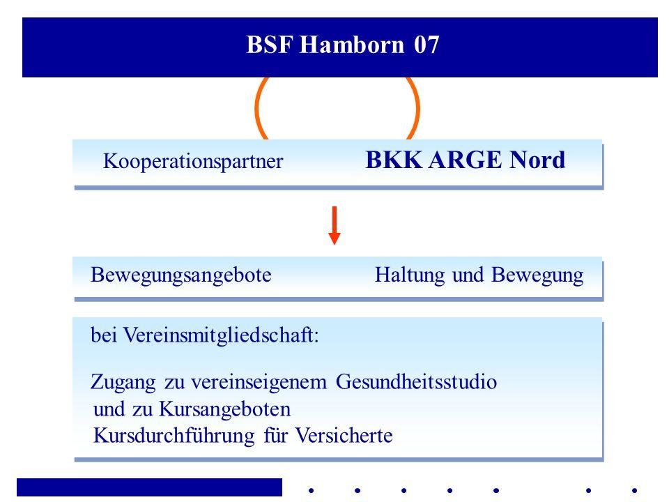 Kooperationspartner BKK ARGE Nord BSF Hamborn 07 bei Vereinsmitgliedschaft: Zugang zu vereinseigenem Gesundheitsstudio und zu Kursangeboten Kursdurchf