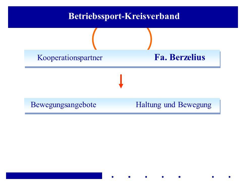 Kooperationspartner Fa. Berzelius Bewegungsangebote Haltung und Bewegung Betriebssport-Kreisverband