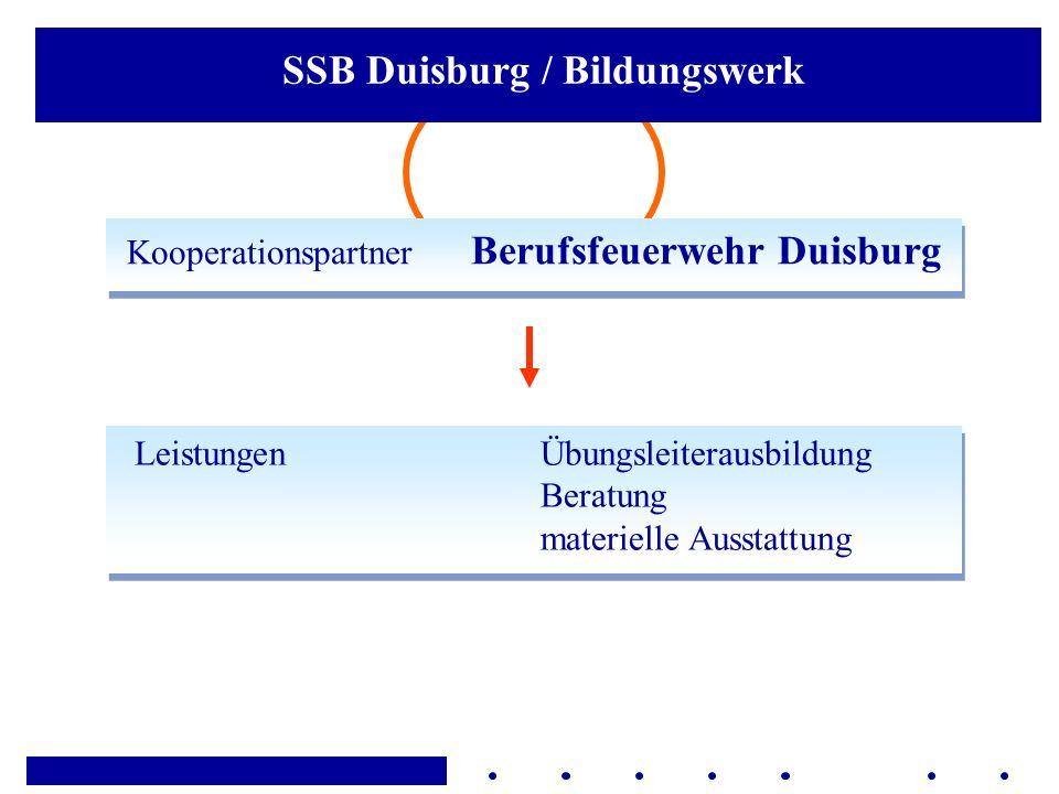 Kooperationspartner Berufsfeuerwehr Duisburg LeistungenÜbungsleiterausbildung Beratung materielle Ausstattung SSB Duisburg / Bildungswerk