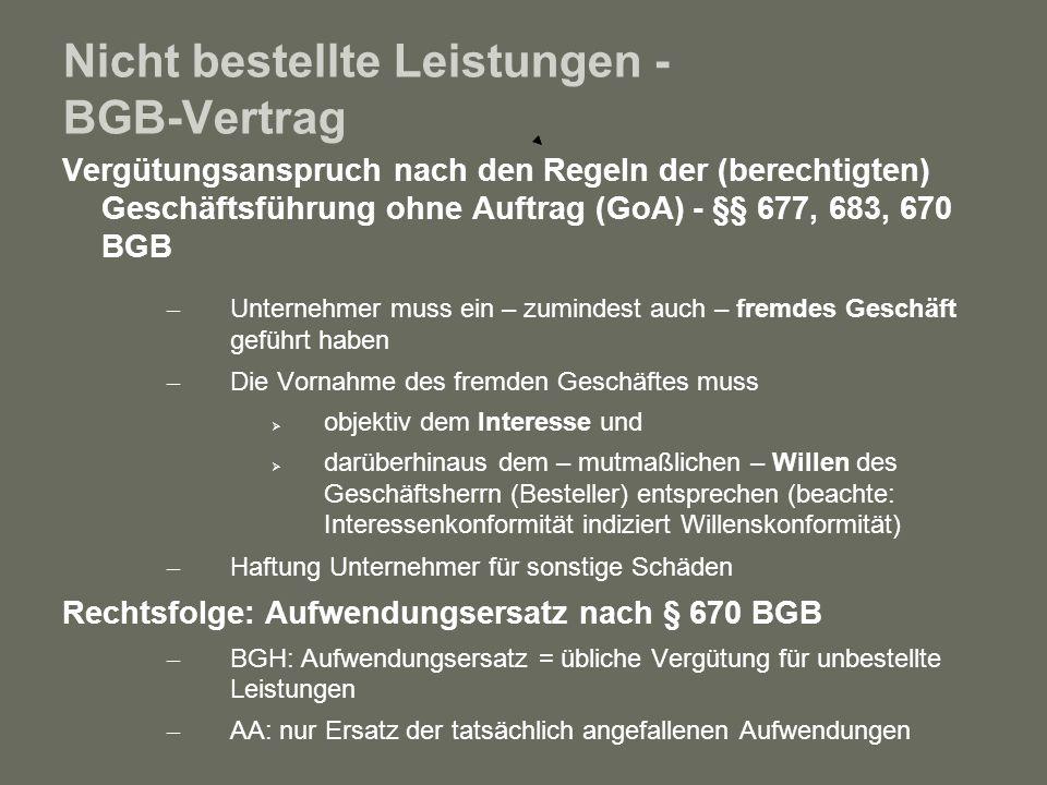 Nicht bestellte Leistungen - BGB-Vertrag Vergütungsanspruch nach den Regeln der (berechtigten) Geschäftsführung ohne Auftrag (GoA) - §§ 677, 683, 670
