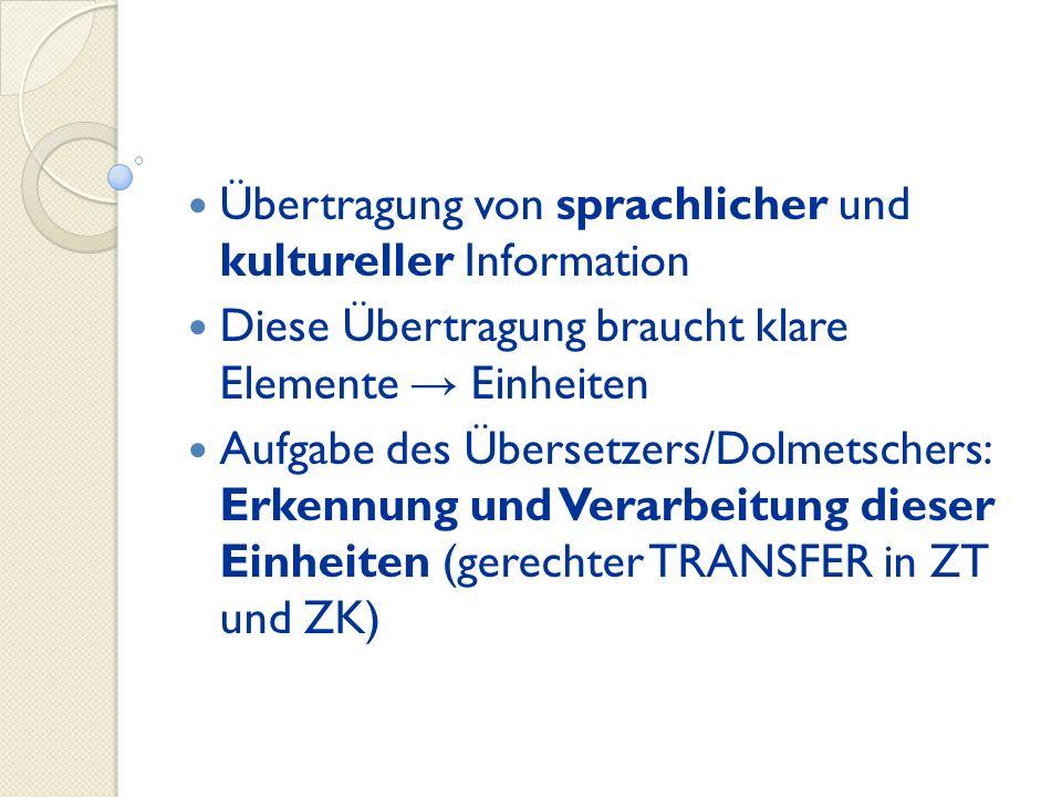 Übertragung von sprachlicher und kultureller Information Diese Übertragung braucht klare Elemente Einheiten Aufgabe des Übersetzers/Dolmetschers: Erke