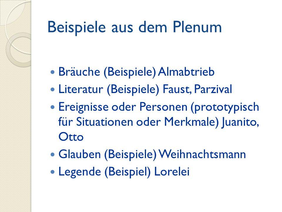 Beispiele aus dem Plenum Bräuche (Beispiele) Almabtrieb Literatur (Beispiele) Faust, Parzival Ereignisse oder Personen (prototypisch für Situationen o