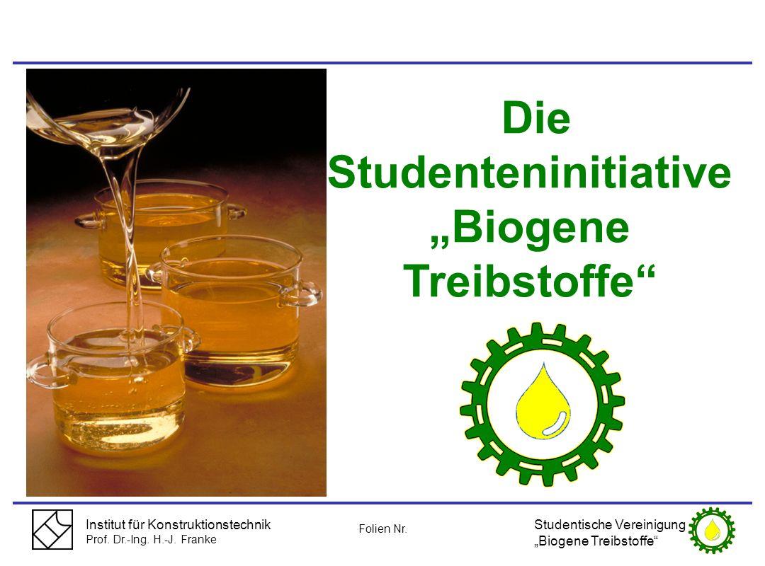 Institut für Konstruktionstechnik Prof. Dr.-Ing. H.-J. Franke Die Studenteninitiative Biogene Treibstoffe Studentische Vereinigung Biogene Treibstoffe