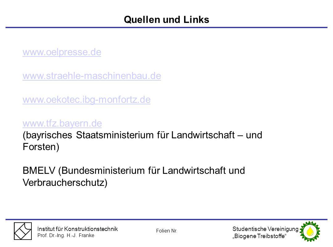 Institut für Konstruktionstechnik Prof. Dr.-Ing. H.-J. Franke Quellen und Links www.oelpresse.de www.straehle-maschinenbau.de www.oekotec.ibg-monfortz
