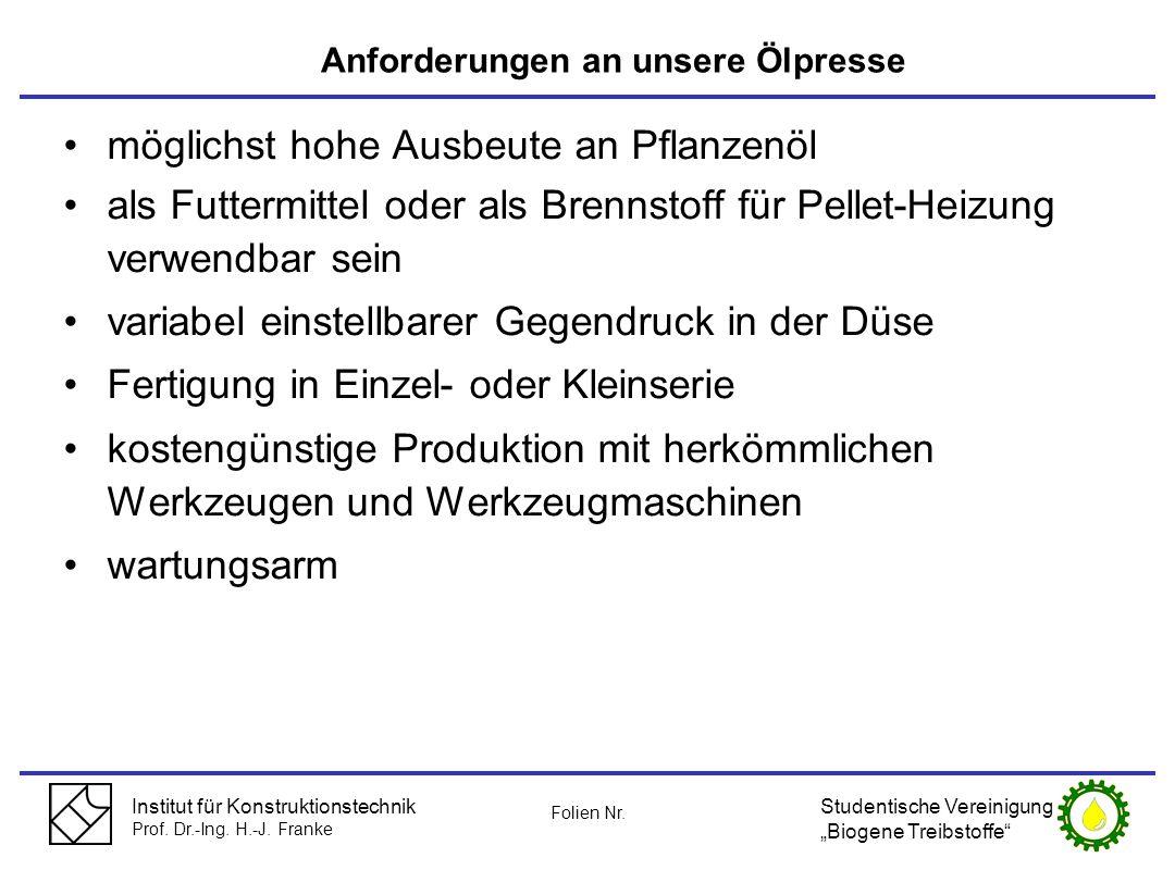 Institut für Konstruktionstechnik Prof. Dr.-Ing. H.-J. Franke möglichst hohe Ausbeute an Pflanzenöl als Futtermittel oder als Brennstoff für Pellet-He