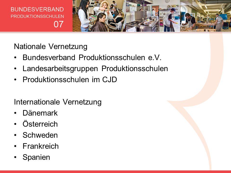 Nationale Vernetzung Bundesverband Produktionsschulen e.V. Landesarbeitsgruppen Produktionsschulen Produktionsschulen im CJD Internationale Vernetzung