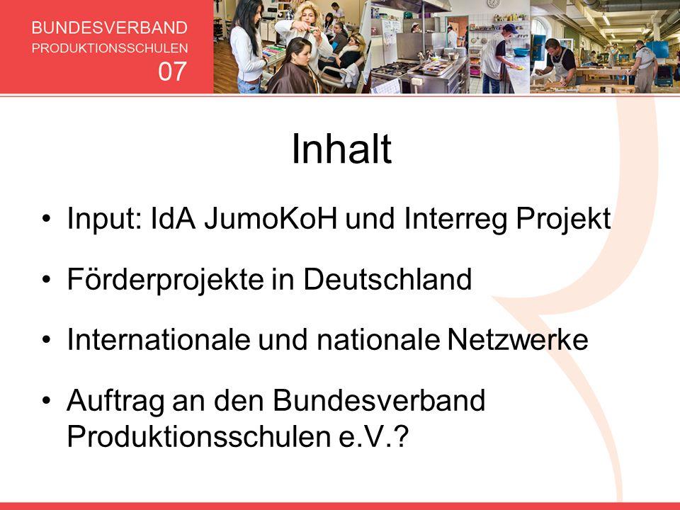 Inhalt Input: IdA JumoKoH und Interreg Projekt Förderprojekte in Deutschland Internationale und nationale Netzwerke Auftrag an den Bundesverband Produ