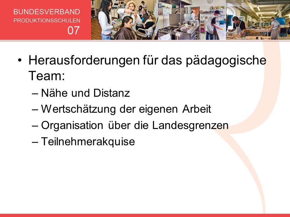 Herausforderungen für das pädagogische Team: –Nähe und Distanz –Wertschätzung der eigenen Arbeit –Organisation über die Landesgrenzen –Teilnehmerakqui