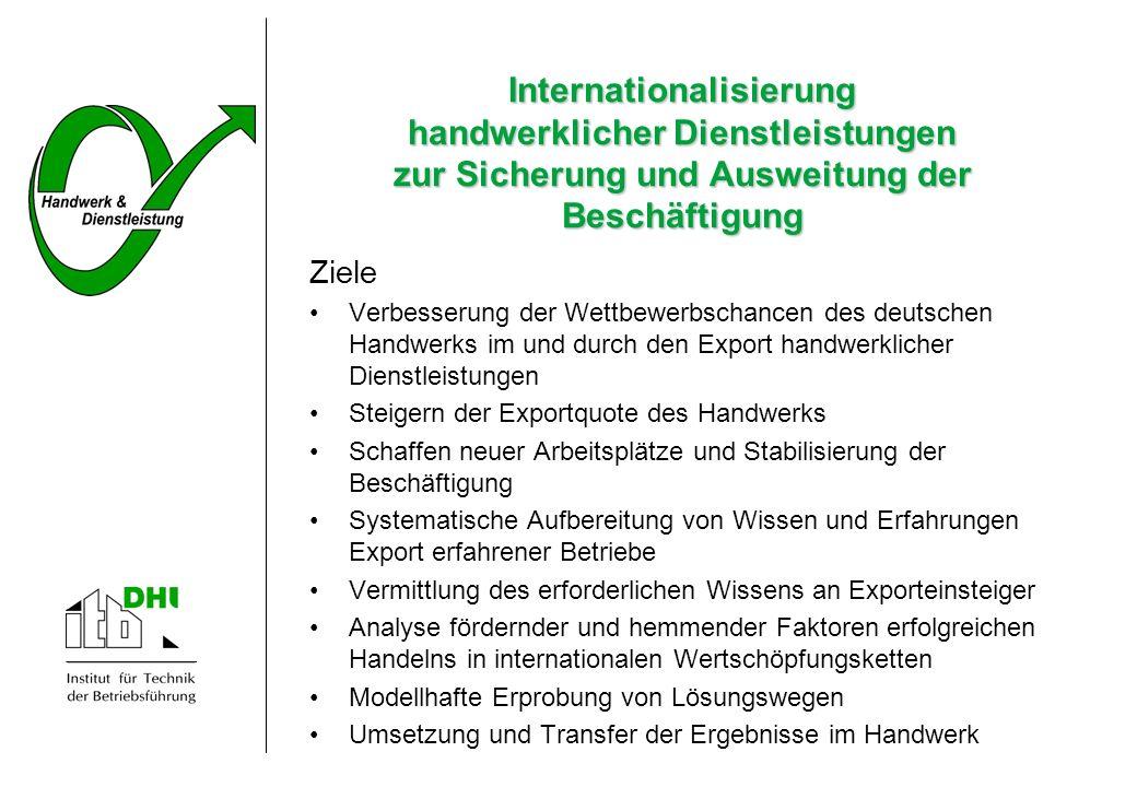 Ziele Verbesserung der Wettbewerbschancen des deutschen Handwerks im und durch den Export handwerklicher Dienstleistungen Steigern der Exportquote des