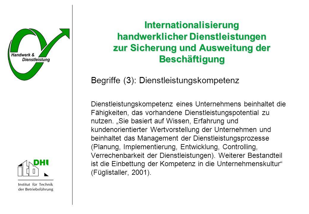 Internationalisierung handwerklicher Dienstleistungen zur Sicherung und Ausweitung der Beschäftigung Begriffe (3): Dienstleistungskompetenz Dienstleis