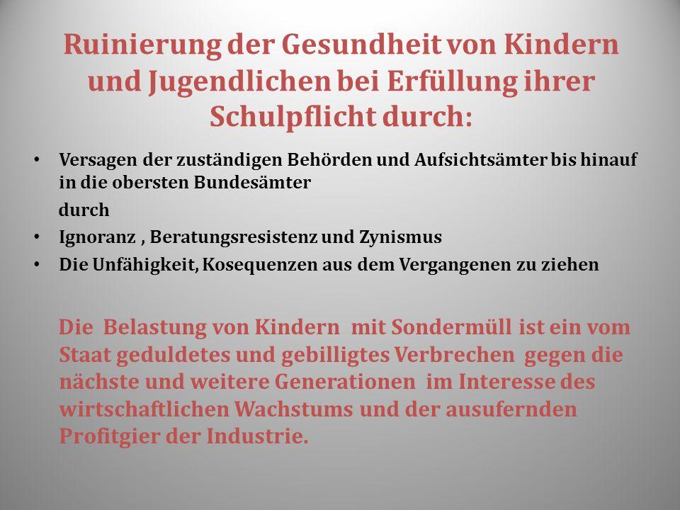 Ruinierung der Gesundheit von Kindern und Jugendlichen bei Erfüllung ihrer Schulpflicht durch : Versagen der zuständigen Behörden und Aufsichtsämter b