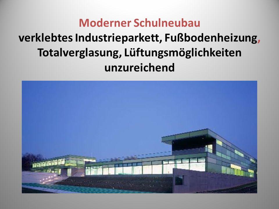 Moderner Schulneubau verklebtes Industrieparkett, Fußbodenheizung, Totalverglasung, Lüftungsmöglichkeiten unzureichend