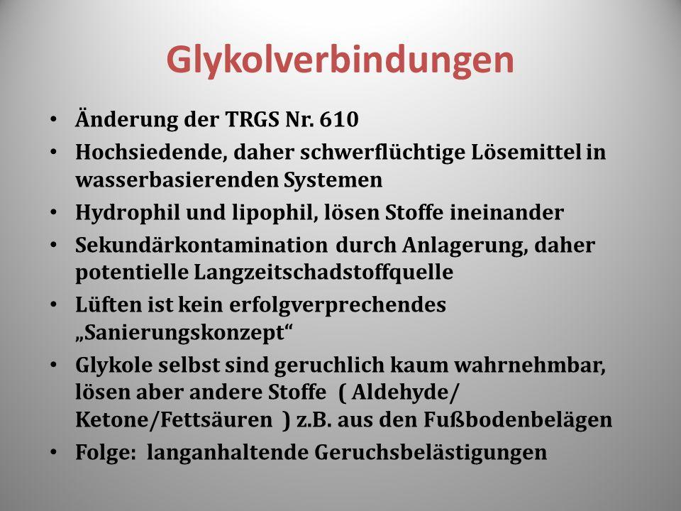 Glykolverbindungen Änderung der TRGS Nr. 610 Hochsiedende, daher schwerflüchtige Lösemittel in wasserbasierenden Systemen Hydrophil und lipophil, löse