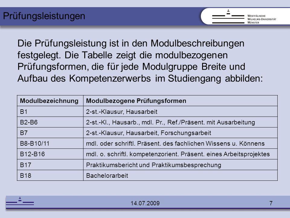 14.07.20097 Die Prüfungsleistung ist in den Modulbeschreibungen festgelegt. Die Tabelle zeigt die modulbezogenen Prüfungsformen, die für jede Modulgru