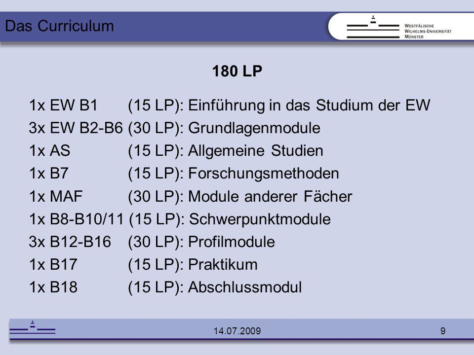 14.07.20099 180 LP 1x EW B1 (15 LP): Einführung in das Studium der EW 3x EW B2-B6 (30 LP): Grundlagenmodule 1x AS (15 LP): Allgemeine Studien 1x B7 (1