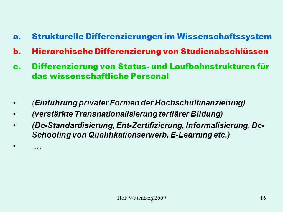 HoF Wittenberg 200916 a.Strukturelle Differenzierungen im Wissenschaftssystem b.Hierarchische Differenzierung von Studienabschlüssen c.Differenzierung