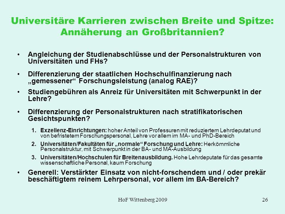HoF Wittenberg 200926 Universitäre Karrieren zwischen Breite und Spitze: Annäherung an Großbritannien? Angleichung der Studienabschlüsse und der Perso