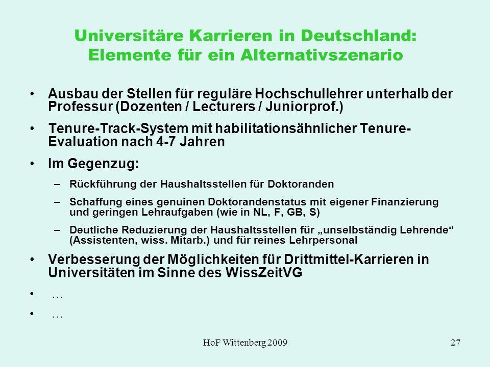 HoF Wittenberg 200927 Universitäre Karrieren in Deutschland: Elemente für ein Alternativszenario Ausbau der Stellen für reguläre Hochschullehrer unter