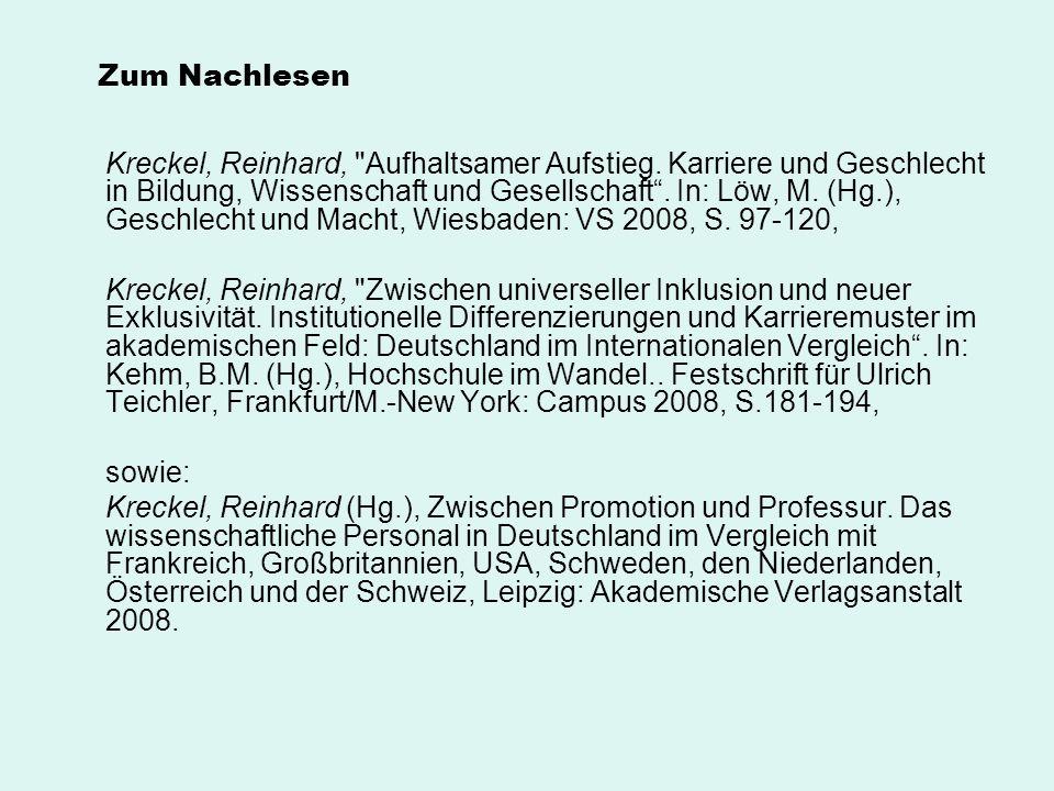 Zum Nachlesen Kreckel, Reinhard,