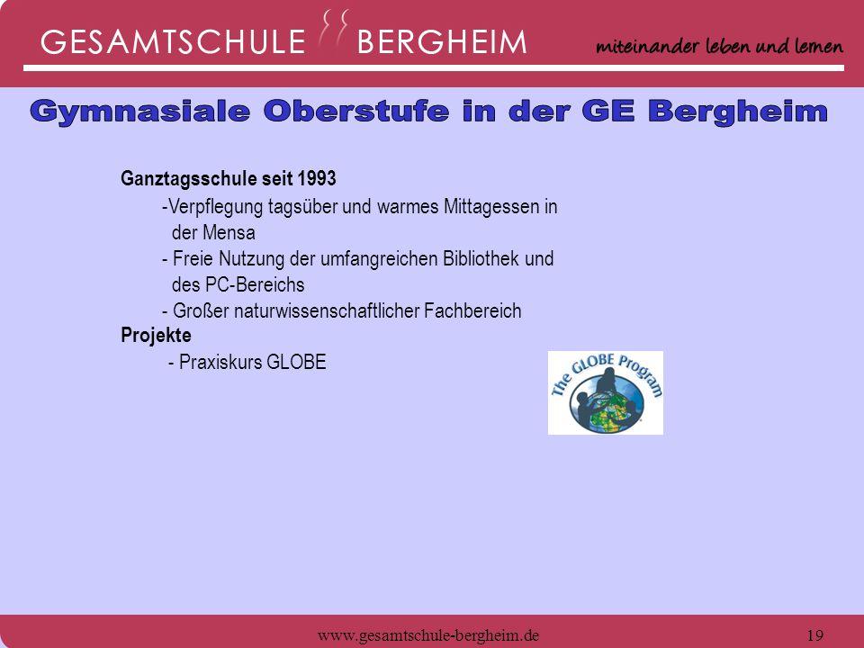 www.gesamtschule-bergheim.de19 Ganztagsschule seit 1993 -Verpflegung tagsüber und warmes Mittagessen in der Mensa - Freie Nutzung der umfangreichen Bi